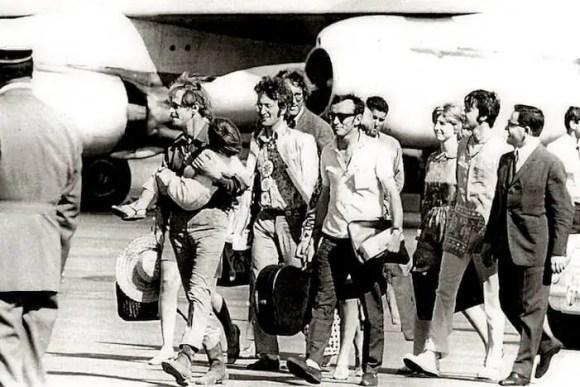 John Lennon and Paul McCartney arrive in Greece, July 1967