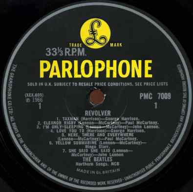 Label for The Beatles' Revolver album, side A