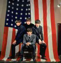 The Beatles with a USA flag, 1964