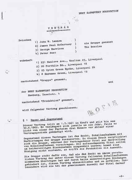 The Beatles' first contract, 1961