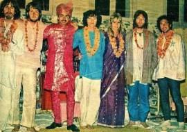 George Harrison, Paul McCartney, Shah Jahan, Donovan, Pattie Harrison, John Lennon and Paul Horn in India, 17 March 1968