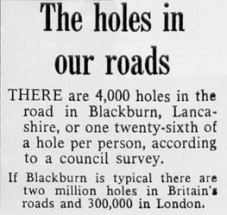 Daily Mail article, 'The holes in our roads', which inspired The Beatles' A Day In The Life