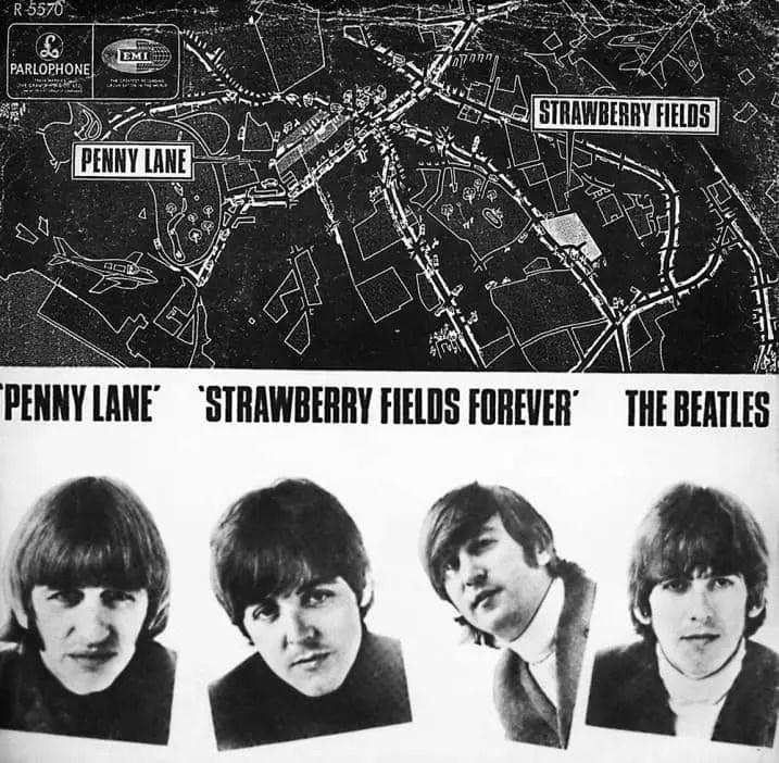 Penny Lane/Strawberry Fields Forever single artwork – Denmark