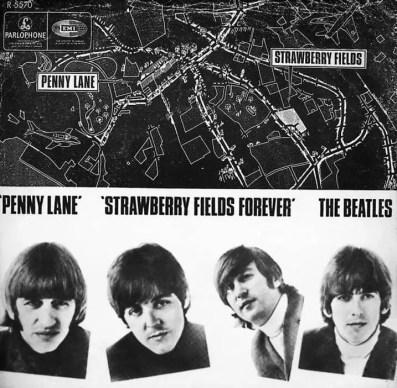 Penny Lane/Strawberry Fields Forever single artwork - Denmark