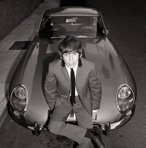 George Harrison with his Jaguar E-Type, July 1964