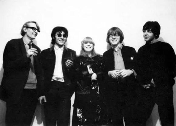 Barry Miles, John Dunbar, Marianne Faithfull, Peter Asher and Paul McCartney, Indica Gallery opening, 28 January 1965