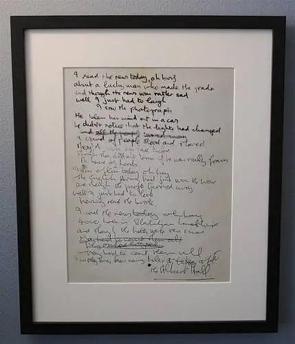 John Lennon's handwritten lyrics for A Day In The Life