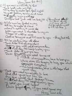 John Lennon's lyrics for Any Time At All, 1964