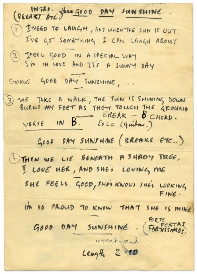 Paul McCartney's lyrics for Good Day Sunshine, 1966