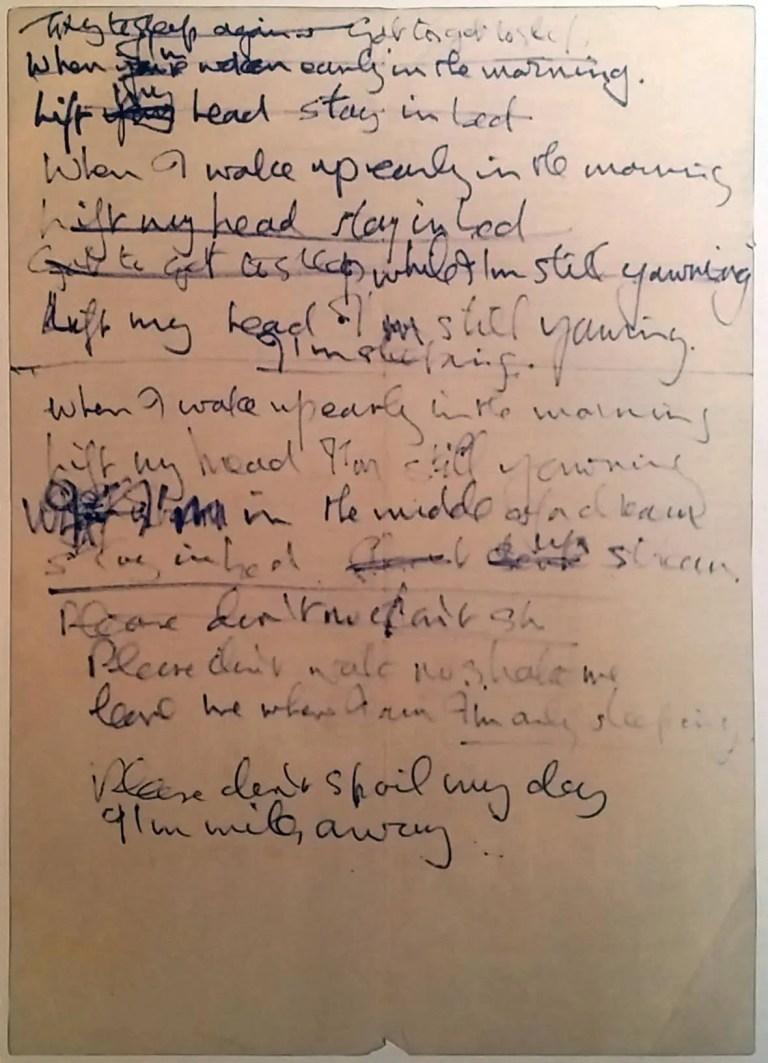 John Lennon's handwritten lyrics for I'm Only Sleeping, 1966