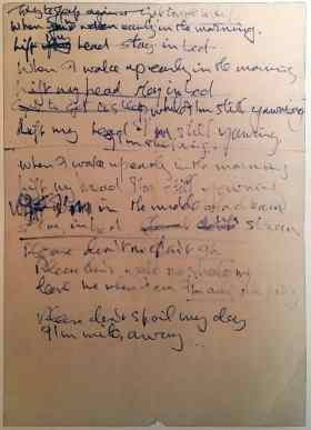 John Lennon's handwritten lyrics for I'm Only Sleeping, 1966