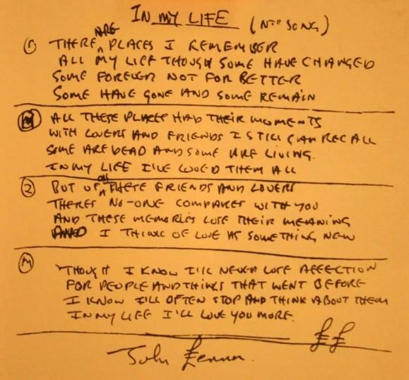John Lennon's handwritten lyrics for In My Life