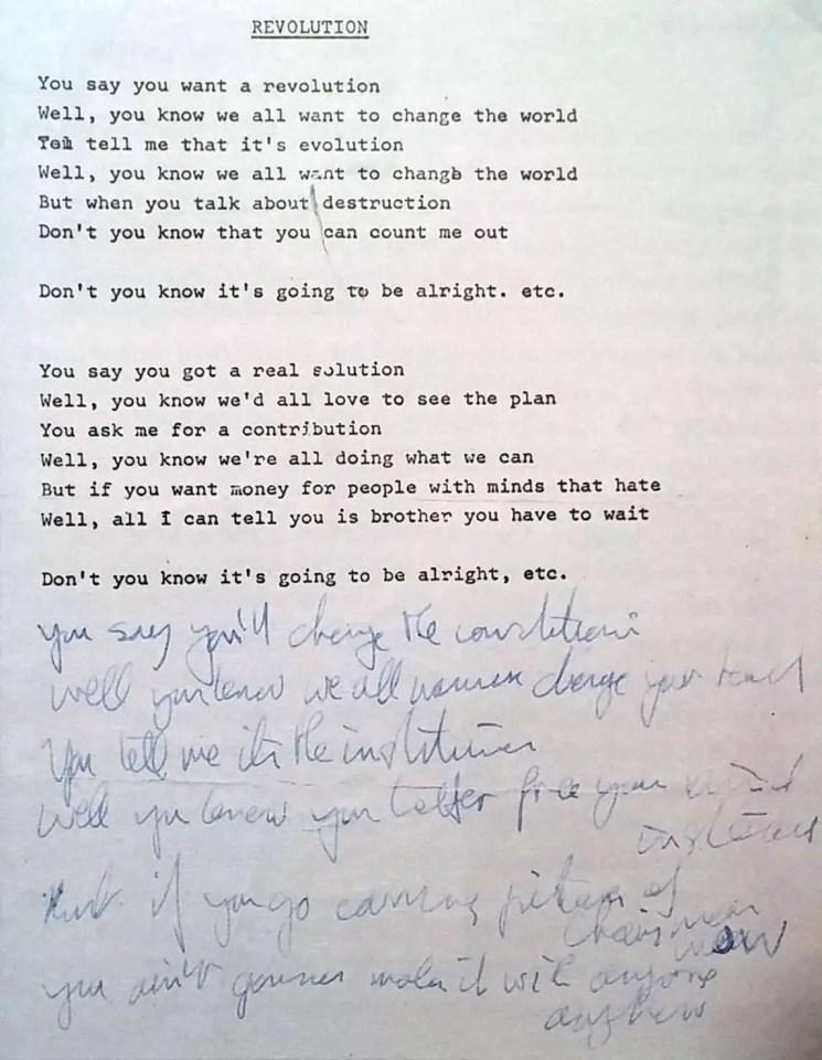 John Lennon's lyrics for Revolution, 1968