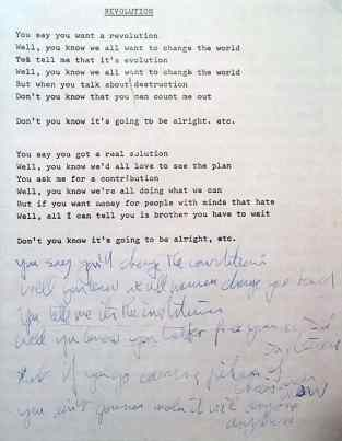 John Lennon's lyrics for Revolution, 1968