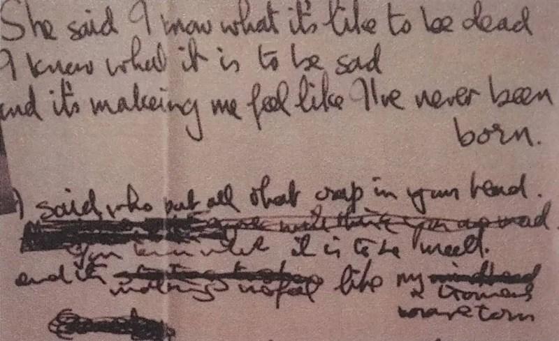 John Lennon's lyrics for She Said She Said, 1966