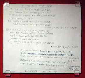 Handwritten lyrics for Ticket To Ride