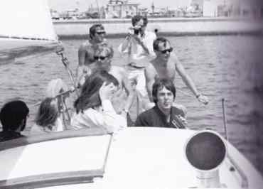 Paul McCartney and others sailing to Santa Catalina Island, California, 24 June 1968