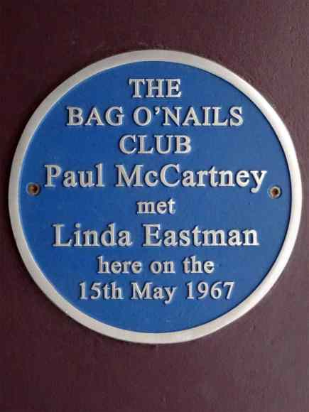 Plaque marking the first meeting of Paul and Linda McCartney at the Bag O'Nails Club, Soho, London