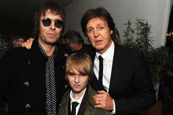 Paul McCartney with Liam and Gene Gallagher, 2 October 2012