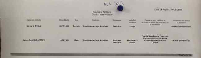 Paul McCartney and Nancy Shevell's wedding notice, 14 September 2011