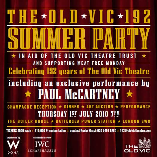 Poster for Paul McCartney's appearance at the Old Vic theatre in London, 1 July 2010