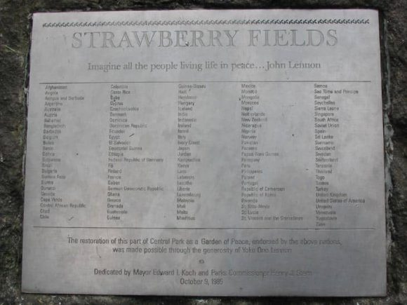 Strawberry Fields plaque in Central Park, New York City