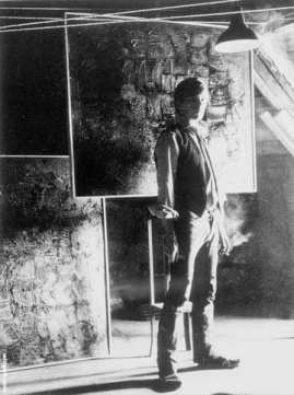 Stuart Sutcliffe in his art studio at Astrid Kirchherr's home