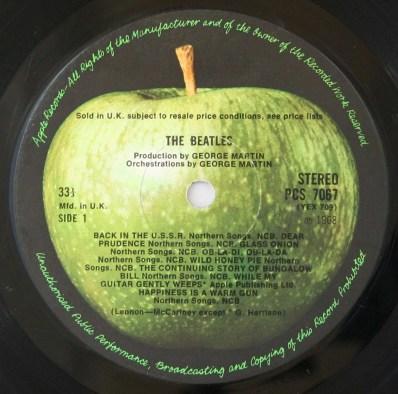 The Beatles (White Album) label, side 1