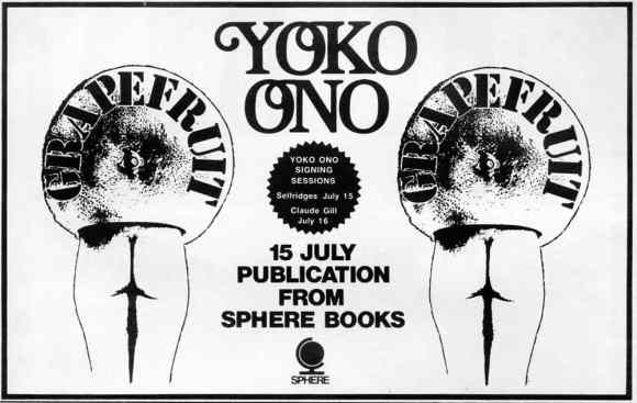 Advert for Yoko Ono's Grapefruit signing sessions in London, July 1971