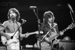 George Harrison and Eric Clapton performing at the Concert for Bangladesh