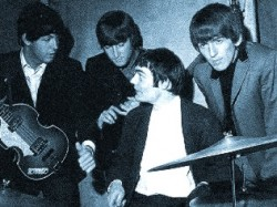 Jimmy Nicol rehearsing with The Beatles in the studio, June 3, 1964