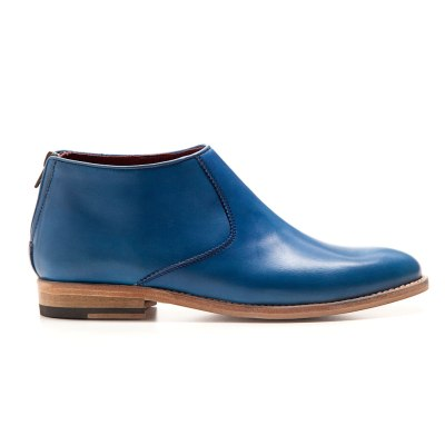 Blue leather low heel ankle boot for women Astrud