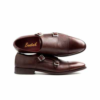 brown double buckle monk shoes for men in textured grained leather by Beatnik Shoes