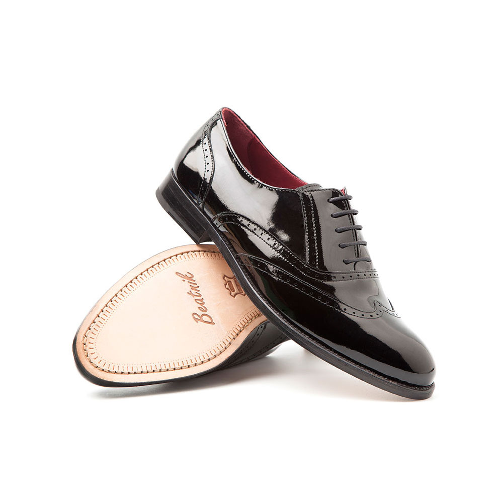 Lena Pure Black woman Oxfords by Beatnik Shoes