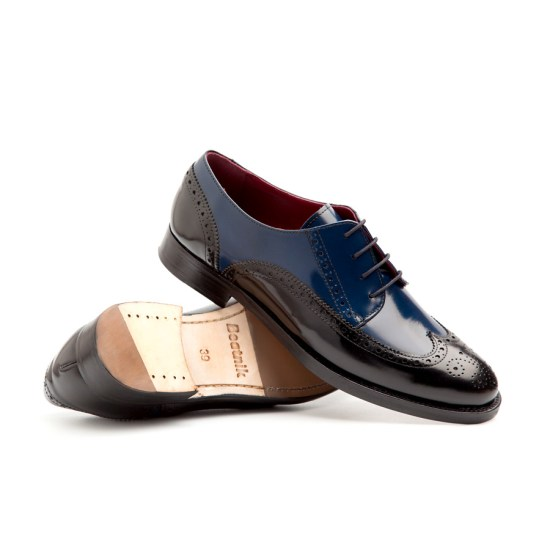 Black & Blue Leather Blucher Woman Ethel
