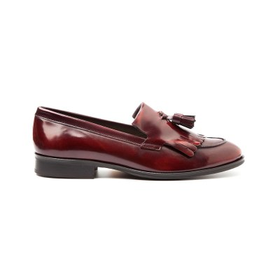 Handmade burgundy tassel loafers for women Tammi by Beatnik Shoes