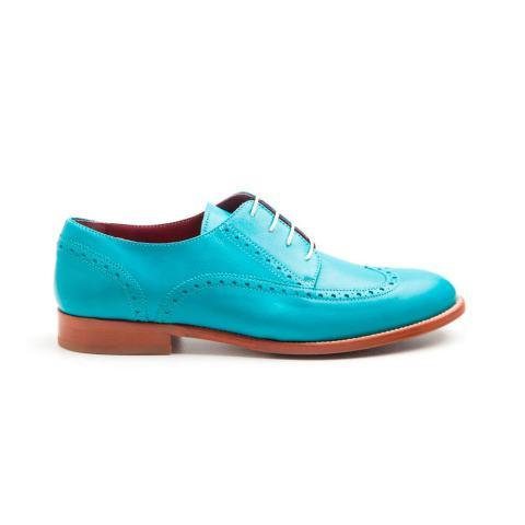 Zapato blucher de mujer en piel azul verdoso hecho a mano en España por Beatnik