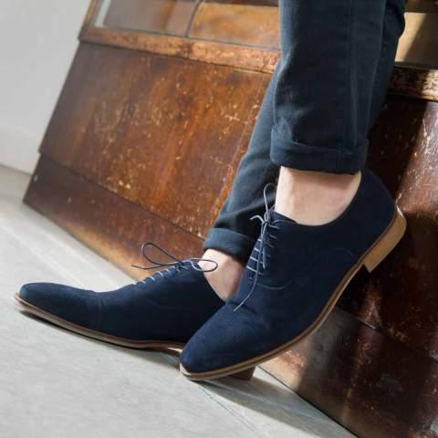 Zapato Oxford en ante azul para hombre Corso Blues hecho a mano en España por Beatnik Shoes