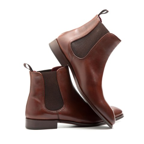 Brown leather chelsea boots for men Cassady Brown handmade in Spain by Beatnik