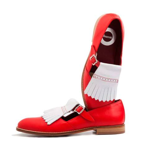 Monk strap two tone red and white for women Handmade in Spain by Beatnik