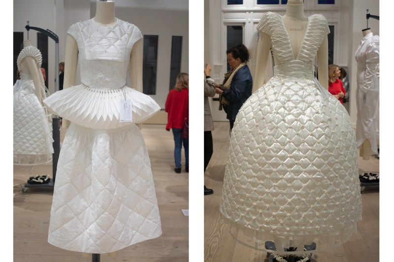 "Tess van Zalinge's collection ""Fifteen"" showcases wedding dresses made by Upcycling previously used wedding materials meant for only ""one-day-use""."