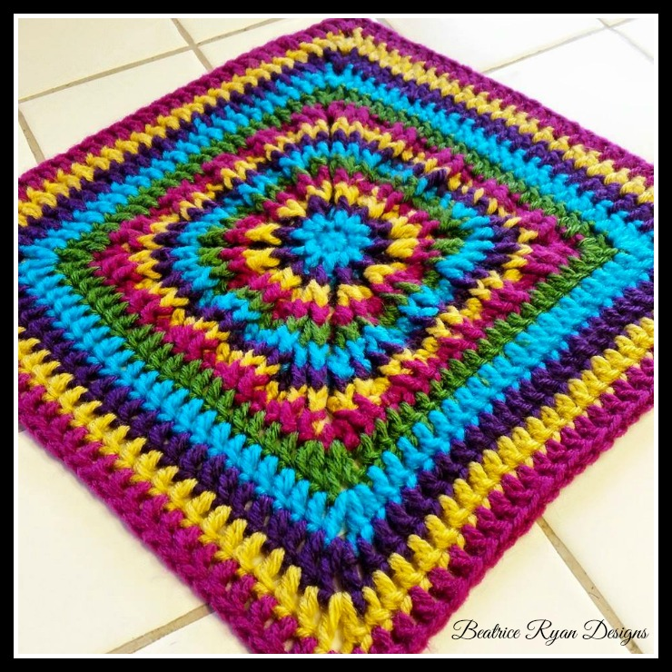 Rainbow Burst Reversible Crochet Granny Square