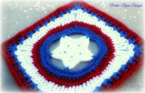 Granny's Shining Star Patriotic Square, Free Crochet Pattern