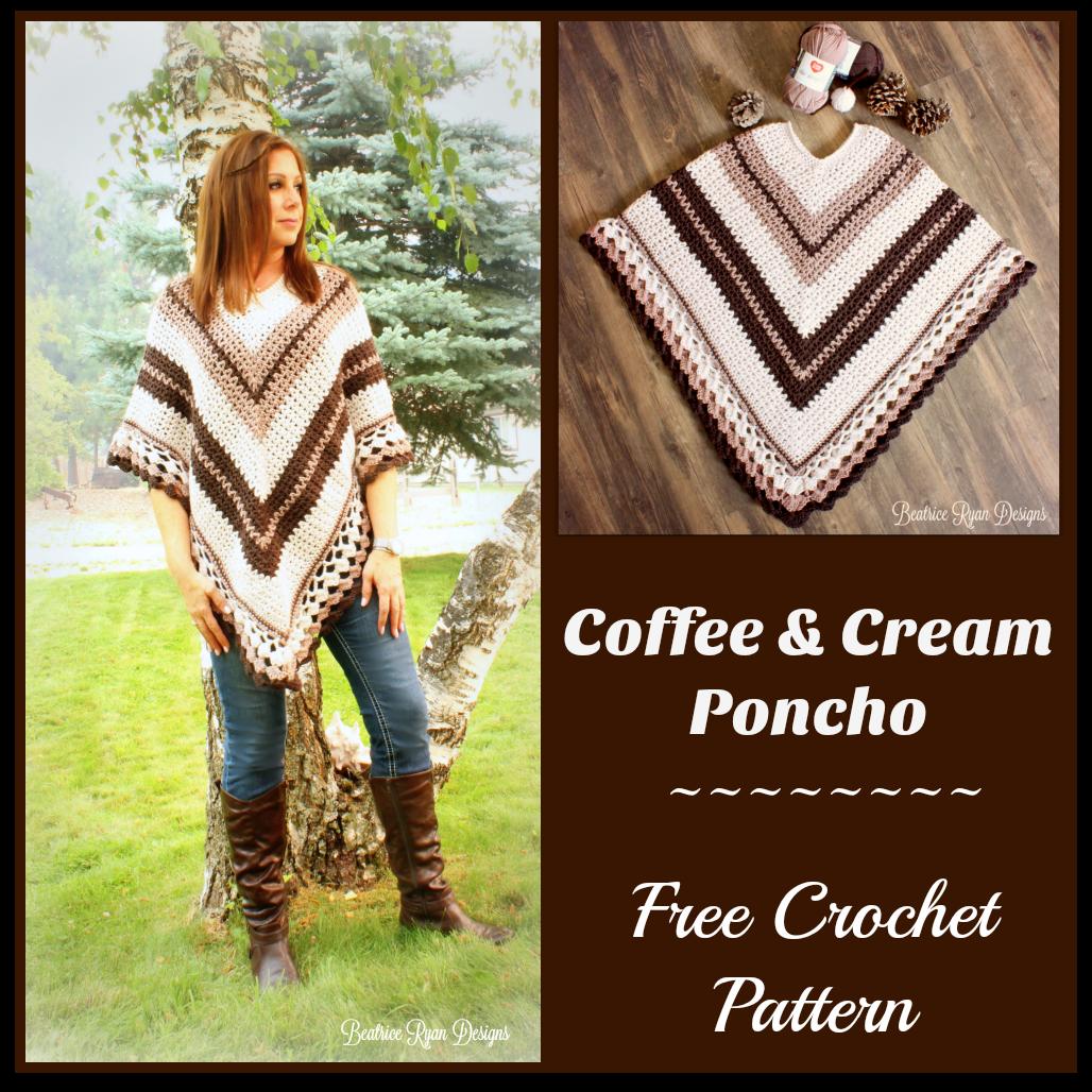 Coffee And Cream Poncho Free Crochet Pattern