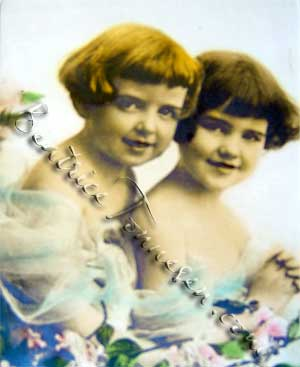 "Betty Crowe (left) on a 1918 calendar ""Fair Blossoms in the Garden of Youth""."