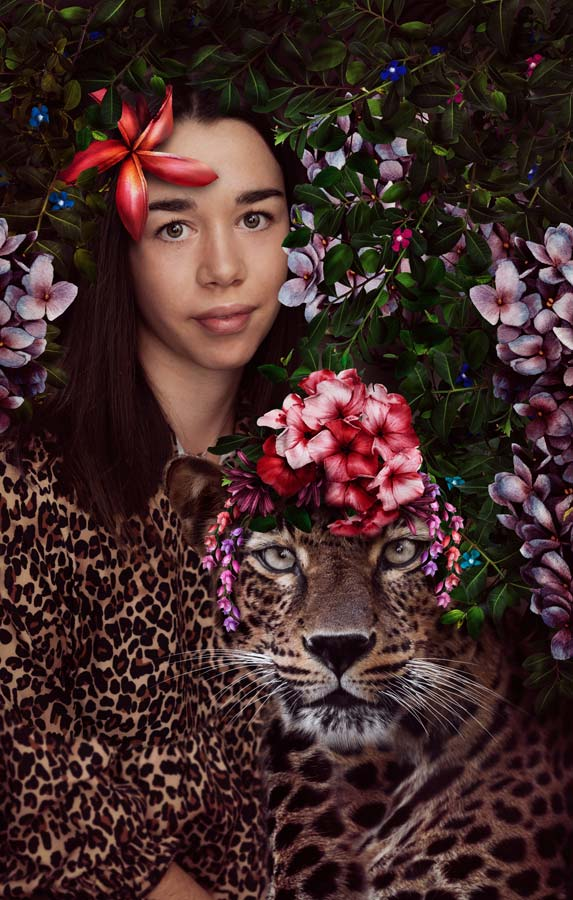 Leopard image with a teenager
