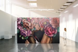 Fine art detail on gallery art wall