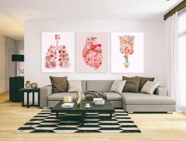 Living room with blooming health art