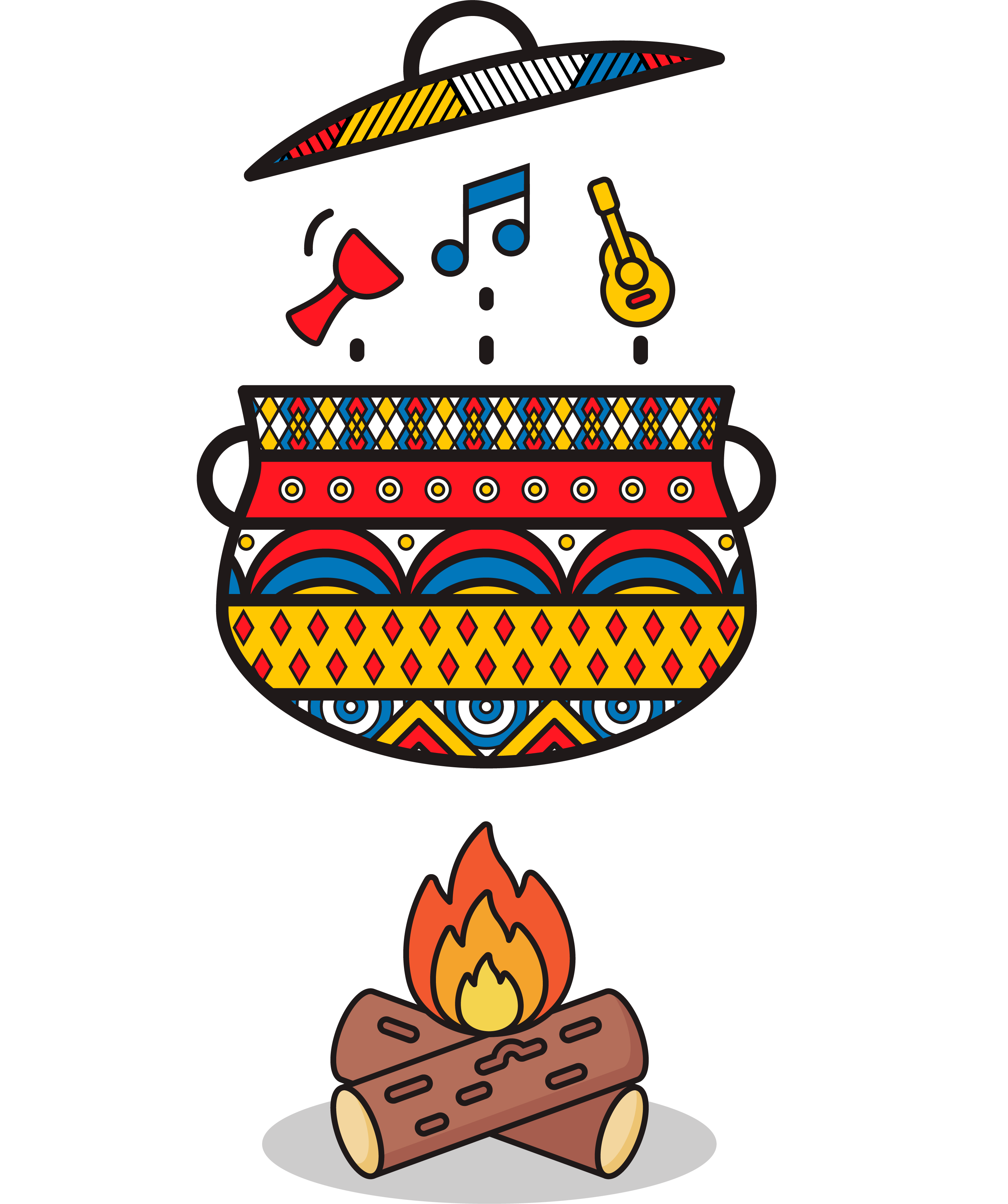 Illustration for Mixing and Mastering Service-Cooking Pot over Fire with Drum, Music Note, Guitar Objects