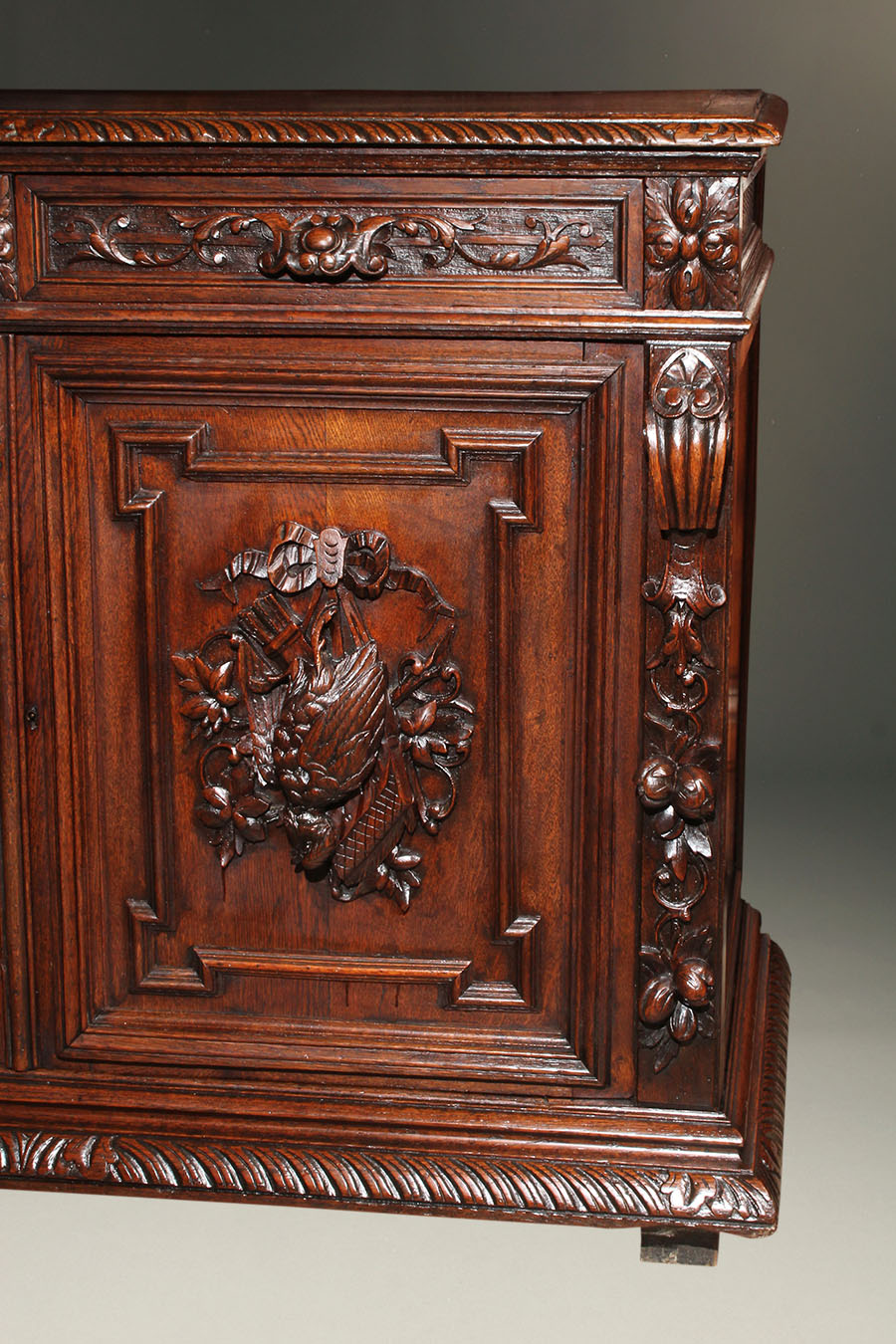 19th century french louis xiii style carved oak buffet